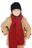 Alineada adorable del muchacho para el invierno Imagenes de archivo