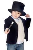 Alineada adorable del niño del ilusionista con el sombrero Imágenes de archivo libres de regalías
