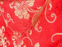 Alineada de seda roja del chino tradicional Fotografía de archivo libre de regalías