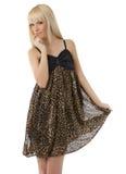 Alineada del leopardo de la muchacha que desgasta hermosa Fotos de archivo libres de regalías