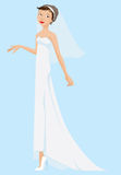 Alineada y velo blancos que desgastan de la novia Imagenes de archivo