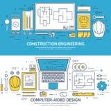 Alineado, ejemplo del vector del esquema Ingeniería y arquitectura Software del cuaderno Construcción de dibujo arquitectónico ilustración del vector