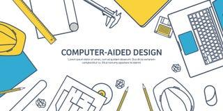 Alineado, ejemplo del vector del esquema Ingeniería y arquitectura Software del cuaderno Construcción de dibujo arquitectónico stock de ilustración