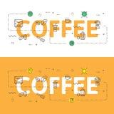 Alinee el concepto del ejemplo de los iconos de palabras café y elementos libre illustration