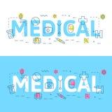 Alinee el concepto del ejemplo de los iconos de palabras médicas y de elementos stock de ilustración
