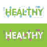 Alinee el concepto del ejemplo de los iconos de palabras sanas y de elementos libre illustration