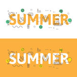 Alinee el concepto del ejemplo de los iconos de palabras verano y elementos libre illustration