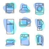 Alinee los iconos con los elementos planos del diseño de los utensilios de la cocina Imagen de archivo libre de regalías
