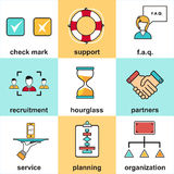 Alinee los iconos con los elementos planos del diseño del servicio de atención al cliente, ayuda del cliente, gestión de negocio  Fotografía de archivo libre de regalías