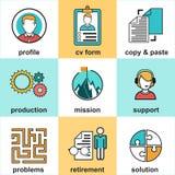 Alinee los iconos con los elementos planos del diseño del servicio de atención al cliente, ayuda del cliente, gestión de negocio  Foto de archivo
