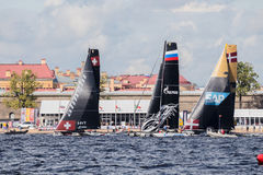 Alinghi, Gazprom Team and SAP catamarans on Extreme Sailing Series Act 5 catamarans race Stock Photos