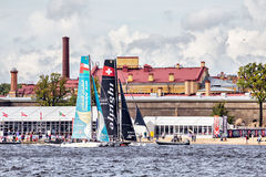 Alinghi and Oman Air catamarans on Extreme Sailing Series Act 5 catamarans race in St. Petersburg Royalty Free Stock Photography