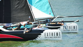 Alinghi racing GAC Pindar at Extreme Sailing Series Singapore 2013 Royalty Free Stock Images