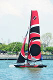 Alinghi sail at Extreme Sailing Series Singapore 2013 Royalty Free Stock Images