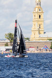 Alinghi (SUI) catamaran the winner of Extreme Sailing Series Act 5 catamarans race in St. Petersburg, Russia Stock Image