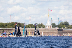 Alinghi (SUI), Gazprom Team and Oman Air (OMA) catamarans on Extreme Sailing Series Act 5 catamarans race on Stock Photos