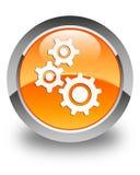 Alinha o botão redondo alaranjado lustroso do ícone Fotos de Stock