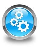 Alinha o botão redondo azul ciano lustroso do ícone Fotos de Stock Royalty Free
