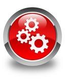 Alinha o botão redondo vermelho lustroso do ícone Fotos de Stock