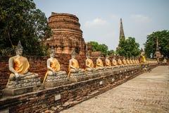 Alinhamento das estátuas da Buda no templo de Wat Yai Chai Mongkhon, Ayutthaya, Chao Phraya Basin, Tailândia central, Tailândia fotografia de stock