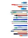 Alinhamento de instrumentos da escrita Fotografia de Stock