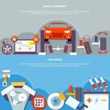 Alinhamento de roda e bandeira horizontal dos sobressalentes do carro ilustração royalty free
