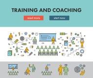 Alinhe a bandeira do conceito de projeto para treinar e treinar ilustração do vetor
