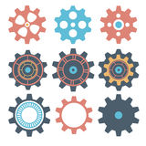 Alinhe a engrenagem da máquina da coleção, roda denteada da roda, grupo de rodas de engrenagem, coleção da engrenagem Fotos de Stock