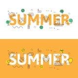 Alinhe o conceito da ilustração dos ícones das palavras verão e elementos Foto de Stock