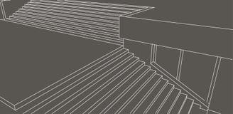 Alinhe o esboço de escadas da rua no fundo cinzento Foto de Stock