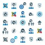 Alinhe os ícones incomuns s do tema do desenvolvimento e do progresso do poder do sistema Fotografia de Stock