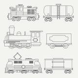 Alinhe trens modernos e do vintage com vagões da carga e ícones do tanque ajustados Locomotivas do vapor, as diesel e as elétrica ilustração do vetor