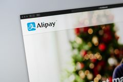 Alipay company website homepage. Close up of Alipay logo. royalty free stock images