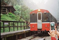 Alisan`s train station Taiwan. By film camera Stock Photography