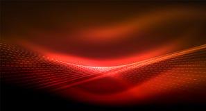 Alise o efeito da luz, linhas retas no fundo escuro de néon brilhante de incandescência Ideia da tecnologia energética ilustração stock