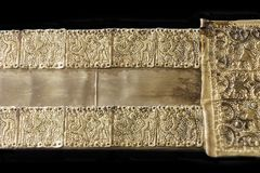 Belt, piece of tartessos hoard of Aliseda, Caceres, Spain. Aliseda, Spain - October 29, 2017: Belt representing the hero-god Melkart, piece of tartessos treasure stock image