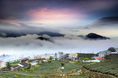 Alishan, Chiayi County, Taiwan: Nuvens do por do sol fotografia de stock