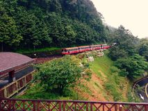 Alishan Forest Railway in a rainy day Royalty Free Stock Photo