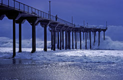 Aliso Pier during a storm in Laguna Beach, California. Royalty Free Stock Photography