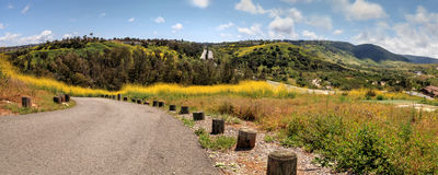 Aliso Viejo Wilderness Park view. With yellow wild flowers and green rolling hills from the top hill in Aliso Viejo, California, United States stock photography