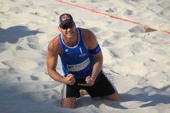 Alison Cerutti - joie de volleyball de plage Photographie stock libre de droits