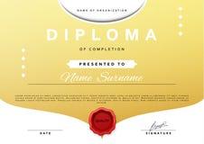 Aliste el certificado del diseño para la promoción con la cera de lacre roja libre illustration