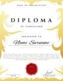 Aliste el certificado del diseño para la promoción con la cera de lacre roja stock de ilustración