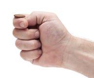 Aliste para mover de un tirón la moneda: ¿pistas o colas? Foto de archivo