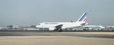 Alitalia and Air France on the runway Royalty Free Stock Images