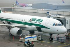 Alitalia Airbus A320 at Budapest royalty free stock photography