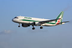 Alitalia Airbus A320. An Alitalia Airbus A320 on final approach stock images