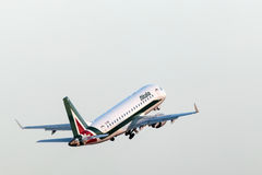 Alitalia Embraer 170 at the Frankfurt Airport Royalty Free Stock Image