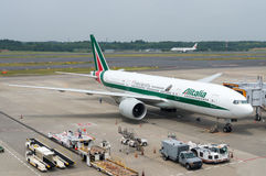 An Alitalia Plane on Airport Tarmac Royalty Free Stock Images