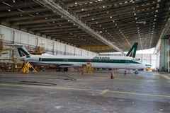 Alitalia Super-MD 80 Stockfotografie